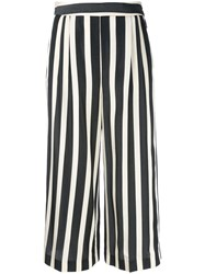Msgm Striped Cropped Trousers White