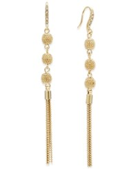 Inc International Concepts Pave Triple Ball Linear Drop Earrings Only At Macy's Gold