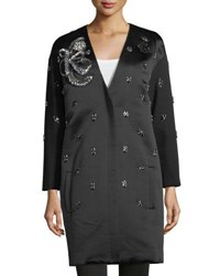 Kobi Halperin Ellena Embellished Duchess Satin Coat Black