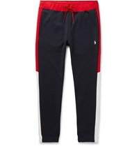 Polo Ralph Lauren Slim Fit Tapered Logo Embroidered Colour Block Jersey Sweatpants Blue