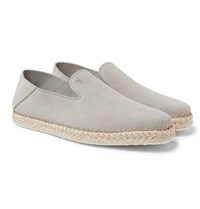 Tod's Collapsible Heel Suede Espadrilles Light Gray