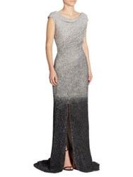 Pamella Roland Ombre Sequin Gown Silver Gunmetal