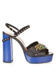 Lanvin Crystal Embellished Platform Leather Sandals Black