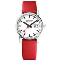 Mondaine Mse.30210.Lc Unisex Evo 2 Date Leather Strap Watch Red White