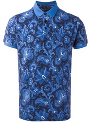 Etro Allover Print Polo Shirt Blue