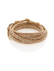 Chan Luu Sterling Silver And Leather Multi Row Beaded Wrap Bracelet Tan