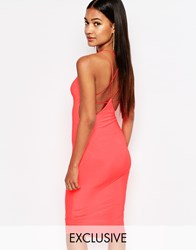 Club L Midi Dress With Star Cami Cross Back Strap Neon Pink