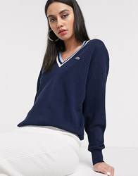 Lacoste Logo V Neck Varsity Sweater Navy