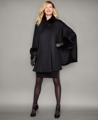 The Fur Vault Fox Fur Trim Cashmere Cape