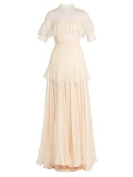 Maria Lucia Hohan Dani Lace Panelled Silk Mousseline Gown Ivory