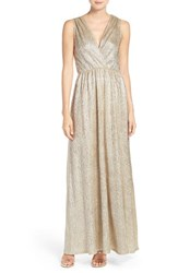 Lulus Women's Lulu's Surplice V Neck Sleeveless Shimmer Gown Gold