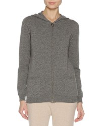 Agnona Cashmere Zip Front Hoodie Sweater Charcoal