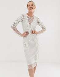 A Star Is Born Embellished Midi Dress In White