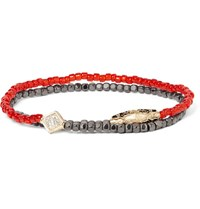 Luis Morais Hematite Bead Gold And Diamond Wrap Bracelet Red