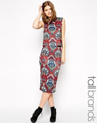 Glamorous Tall Midi Pencil Skirt In Mosaic Print Multi