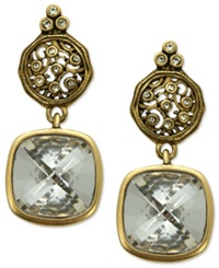 T Tahari Earrings 14K Gold Plated Essentials Crystal Scroll Drop Earrings