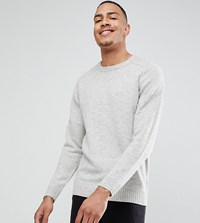 Selected Homme Tall Knitted Jumper In 100 Lambswool Light Grey