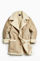 Urban Outfitters Uo Faux Shearling Barn Coat Beige
