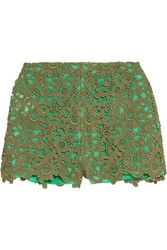 Valentino Cotton Blend Guipure Lace Shorts Army Green