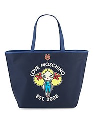 Love Moschino Top Handle Leather Tote Navy