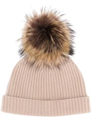 N.Peal Ribbed Beanie Nude And Neutrals