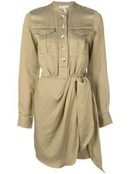 Shona Joy Tie Waist Shirt Dress Green
