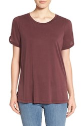 Pleione Women's Cold Shoulder Short Sleeve Tee Raisin