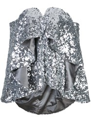 Halpern Ruffled Sequined Top Silver