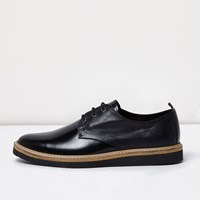River Island Mens Black High Shine Leather Formal Shoes