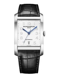 Baume And Mercier Hampton Stainless Steel Alligator Automatic Strap Watch Black Silver Black