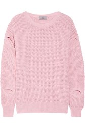 Preen By Thornton Bregazzi Cutout Waffle Knit Sweater Baby Pink
