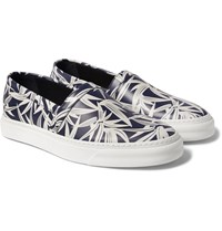 Marc Jacobs Printed Leather Slip On Sneakers Navy