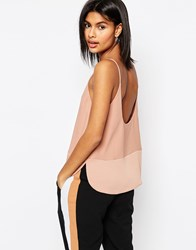 Asos Scoop Back Cami In Matte And Shine Brown