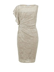 Gina Bacconi Sequin Lace Dress With Ruffled Shoulder Beige