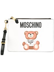 Moschino Toy Bear Paper Cut Out Clutch White