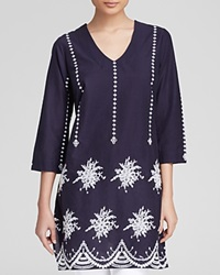 Moon And Meadow Embroidered Tunic Navy White