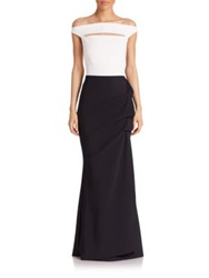 La Petite Robe Di Chiara Boni Cap Sleeve Colorblock Gown White Black