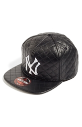 American Needle 'New York Yankees Quilted' Faux Leather Snapback Cap Black