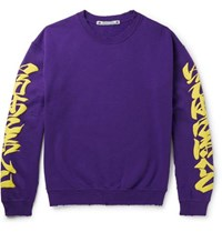 Sasquatchfabrix. Iroha Distressed Fleece Back Cotton Blend Jersey Sweatshirt Purple