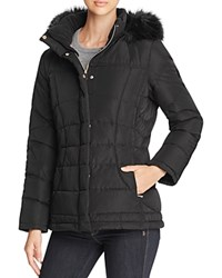 Calvin Klein Faux Fur Trim Hooded Puffer Coat Black
