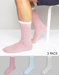 Asos Cable Boot Socks In Pastels 3 Pack Pastel Multi