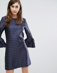 Sister Jane Dress With Exaggerated Sleeves Navy