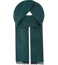 J. Lindeberg Aldo Double Dotted Wool Scarf Dk Green