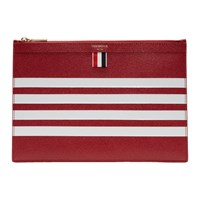 Thom Browne Red Small Four Bar Zipper Tablet Holder