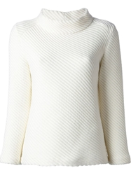 Courreges Ribbed Funnel Neck Sweater White