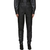 Tibi Black Faux Leather Pull On Trousers