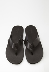 Forever 21 Faux Leather Thong Sandals Black