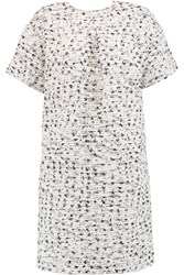 Rochas Boucle Tweed Dress White