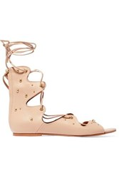 Iro Xiri Studded Leather Lace Up Sandals Pastel Pink
