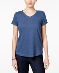 Styleandco. Style Co. Petite V Neck Pocket T Shirt Only At Macy's New Uniform Blue